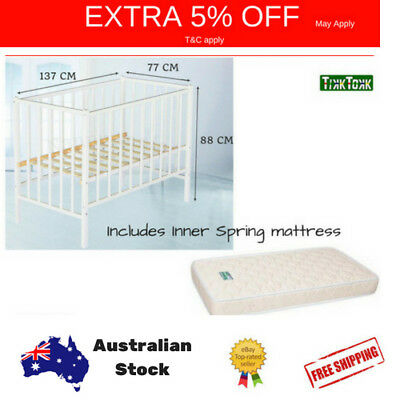 Wooden Baby Toddler Cot & Mattress Classic Nursery WHITE