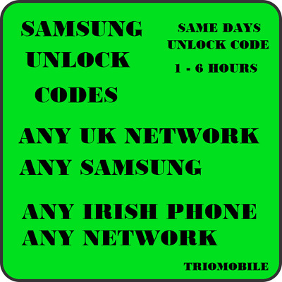 Unlock Code For UK EE Vodafone O2 Samsung A5,A7,A8, S7, S8, S9, NOTE 8, NOTE 9