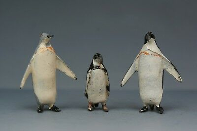 BRITAINS VINTAGE LEAD ZOO ANIMALS * No.916 KING PENGUIN FAMILY * (GREY Variant)