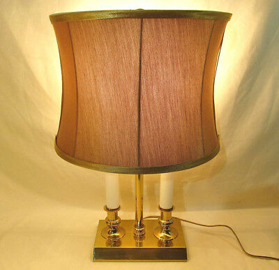 Vintage small bouillette 2 candle brass table lamp w 12 shade vintage small bouillette 2 candle brass table lamp w 12 shade aloadofball Choice Image