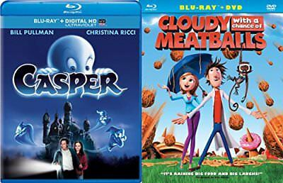 Cloudy with a Chance of Meatballs Animated DVD Blu Ray & Casper the Friendly Gho