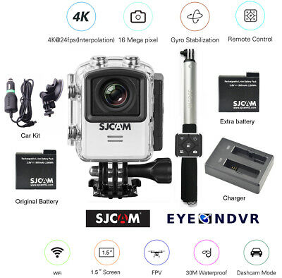 SJCAM M20 16MP Camera extra Battery, ST Remote, Charger, Car Kit, M20-WHT-STCHCK
