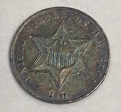 1861 THREE CENT SILVER. COLLECTOR COIN FOR COLLECTION Or Set.