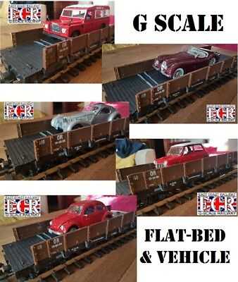 G SCALE FLATBED /& TWO 1:32 DIE-CAST US RETRO PICK-UP RAILWAY 45mm TRAIN TRUCKS