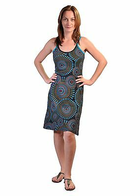 Tattopani Women Summer Sleeveless Strap Dress With Color Illusion Ring Pattern