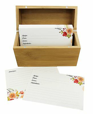 Bamboo Recipe Box Set With 100 Recipe Cards & 10 Blank Dividers | Holds Up To |