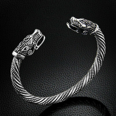 Pagan Celtic Goth Wolf Twist Bracelet Bangle Silver/Gold Viking Fenrir Oath Ring