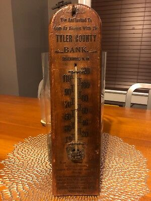 antique Taylor Brothers thermometer large wooden advertising Sistersville WV
