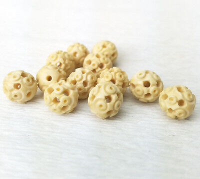 Vintage Hand Carved Celluloid or Bone Beads 10mm 12PCs