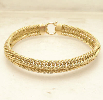 "8"" Textured Domed Interlocked Double Curb Link Bracelet Real 14K Yellow Gold"
