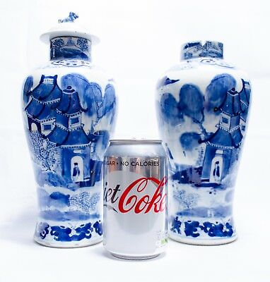 Antique Chinese Porcelain Temple Jars KANGXI Period signature Blue White with Da