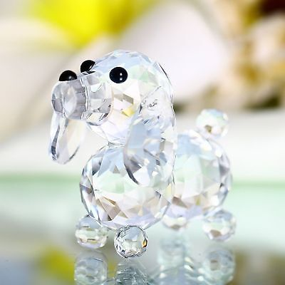 H&D 60mm Cut crystal dog animal figurine collection glass ornament new (White)