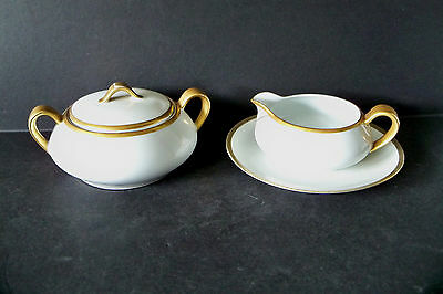 4 Piece Meridian Mutual China Co. O&EG Royal Austria Cream Sugar Set / 10 Karat