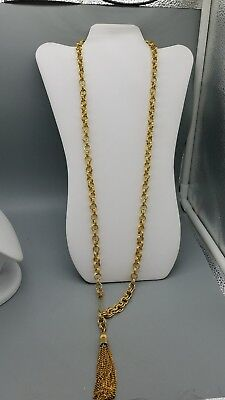 gold tone chain link belt with fringe accent.  bin 11