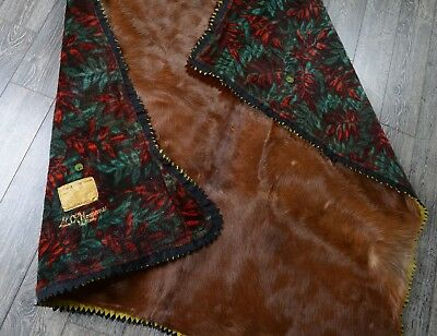 Large Vintage Horse Hide Carriage Blanket - Edes Robe Tanning Co Dubuque IA