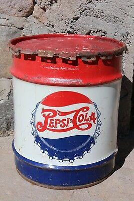Vintage Pepsi Cola 10 Gallon Metal Can Drum Can Syrup LID Included