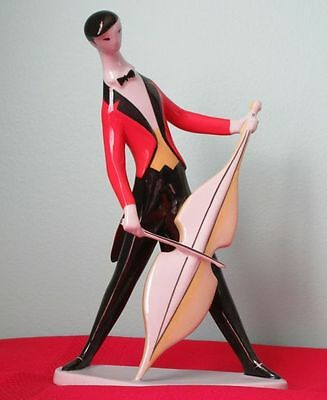 Zsolnay Scarce CELLO MUSICIAN Porcelain Figurine Hungary 1940-50s