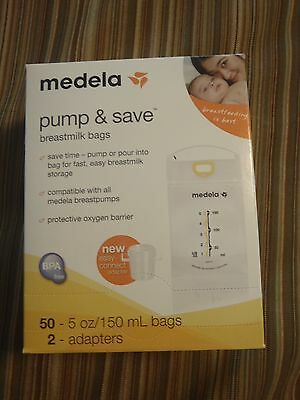 Medela Sealed Box Pump Save Breastmilk Storage Bags 50 Count 2 Adapters 87234