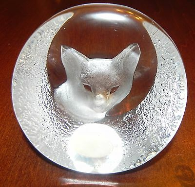 Beautiful Vintage Mats Jonasson Signed Full Lead Crystal Fox Paperweight
