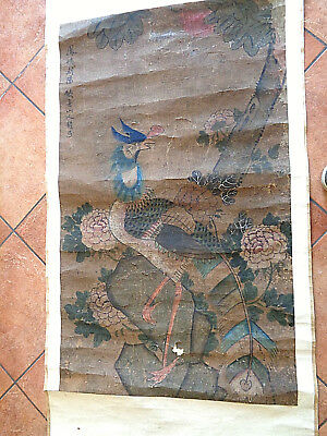Superbo Dipinto A Tempera  Arte Orientale Del Xvi-Xvii  Secolo Cina Scroll
