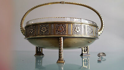 Antique Arts & Crafts Brass Centre Piece By Wmf With Perfect Glass Insert.