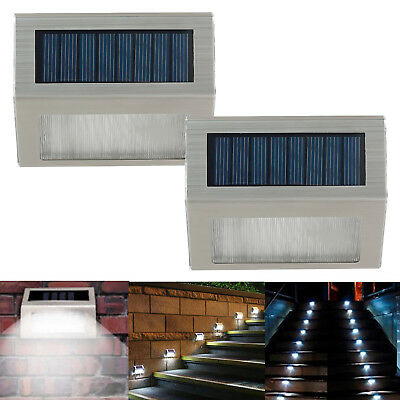 2X 3 LED Outdoor Solar Power Stair Step Light Wall Lamp Garden Fence Lighting AU