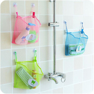 Bath Time Tidy Storage Toy Suction Cup Bag Mesh Bathroom Organiser Net HC