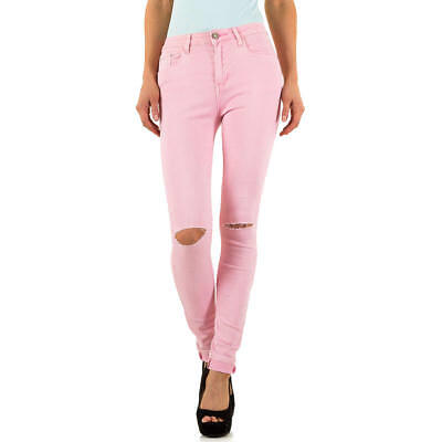 DESTROYED HIGH WAIST SKINNY DAMEN JEANS XL/42 Rosa 3799