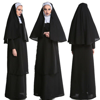 Adult Women Nun Costume Full Set With Stockings Hooded Halloween Cosplay Outfit