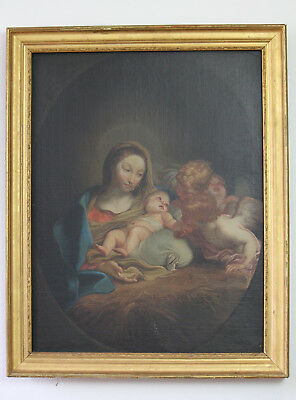Antique 19th C. Italian Renaissance Style Oil on Canvas Madonna and Child c.1860