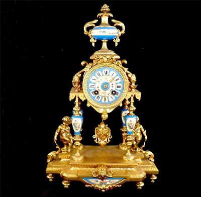 Antique 19Thc French Sevres Style Porcelain & Gilt Metal Portico Clock
