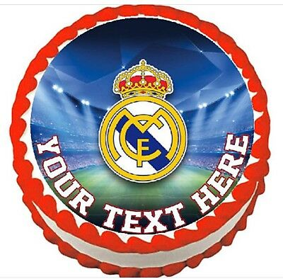 Real Madrid Soccer round edible party cake decoration frosting sheet image