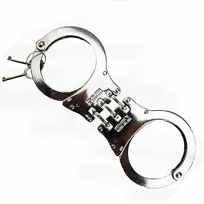 Deluxe Heavy Duty Handcuffs Police Polished 3 Hinged Cuff Double Lock