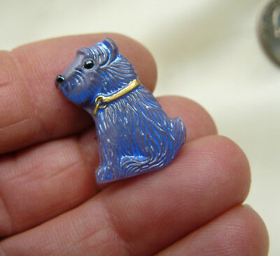 Two Scotty Dog Buttons Purple Czech Glass Back-hole  sewing collectible