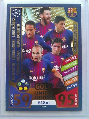 Match Attax Champions League 2017 2018 Limited Edition Barcelona GOLD PES ATTACK
