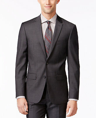$450 Dkny Mens Gray Extra Slim Fit Wool Suit Solid 2 Button Jacket Blazer 36 R