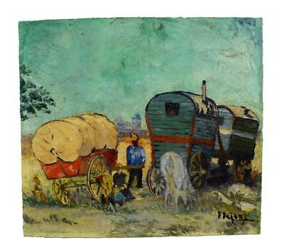 Antique French Postimpressionist Gypsies Trailer Oil Painting on Board Signed