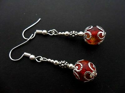 A Pair Of Red/Yellow Crackle Bead Silver Plated Dangly Earrings. New