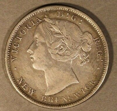 1862 New Brunswick 20 Cents Nice Details Silver         ** FREE U.S. SHIPPING **