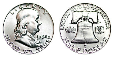 1954-D Franklin Half Dollar Brilliant Uncirculated- BU