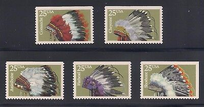 Native American Indian Headdresses - Set Of 5 U.s. Stamps - Mint Condition