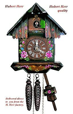 Hubert Herr,  Black Forest 1 day mechanical cuckoo clock,  hand painted flowers,