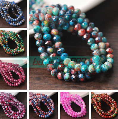 Colorful Rondelle Faceted Cut Glass Loose Spacer Beads lot 4x6mm 6x8mm 7x10mm