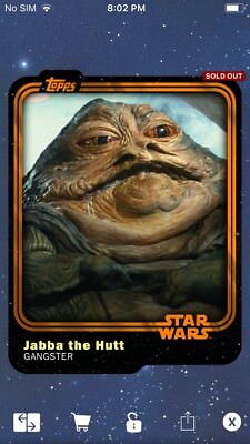 Topps Star Wars Digital Card Trader Orange Jabba The Hutt Insert Award