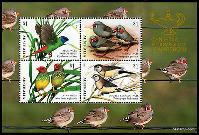 2018 Finches Canberra Stampshow Minisheet MUH Mint Stamps Australia Post