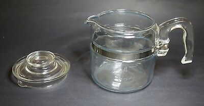 Vintage 2 - 4 Cup Pyrex Glass Coffee Pot Blue Tint & Lid Only 7754-B Flameware