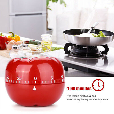 Tomato Shaped Kitchen 60 Minutes Countdown Cooking Mechanical Timer Bell Alarm