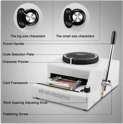 72 Letter Manual Embossing Stamping Machine magnetic ID PVC Card Embosser