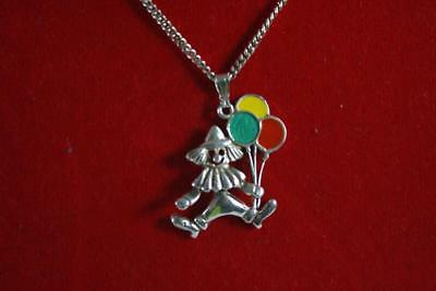 Designer Italy 925 Sterling Silver 'Clown With Balloons' Pendant Necklace