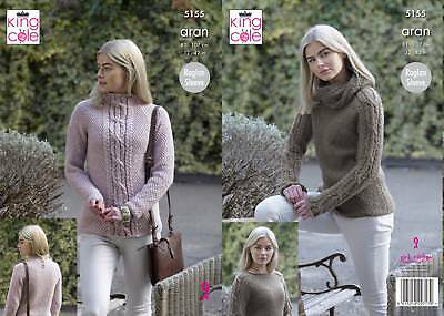 9bbdf4340 KING COLE 5155 Knitting Pattern Womens Raglan Sweaters in King Cole ...